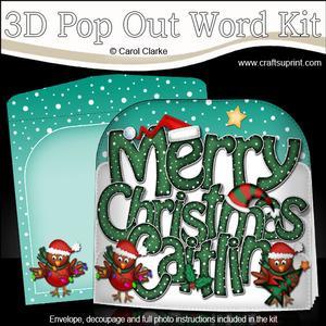 Merry Christmas Caitlin Robins Pop Out Xmas Word Card