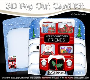 3D Xmas Santa Express Friends Pop Out Card Kit
