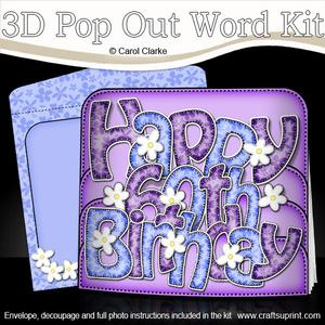 3D 60th Birthday Flowers Pop Out Word Card