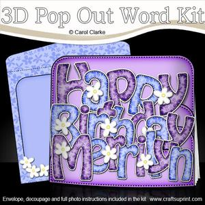 3D 60th Birthday Merrilyn Flowers Pop Out Word Card