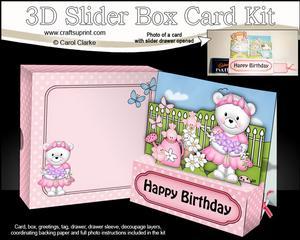 3D Teddy Tess's Flowers Slider Box Card Kit