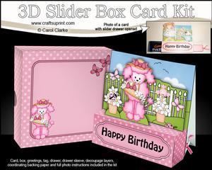 3D Bon Bon Poodle Dog Slider Box Card Kit