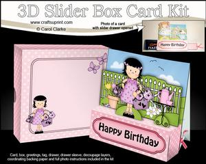 3D Girlz Suzi Goes Shopping Slider Box Card Kit