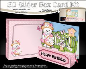 3D Teddy Tess's Flower Basket Slider Box Card Kit