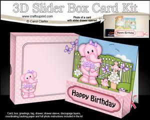 3D Lola Elephant's Flowers Slider Box Card Kit
