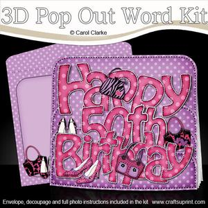 3D 50th Birthday Bags & Shoes Pop Out Word Card