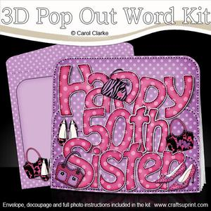 3D 50th Birthday Sister Bags & Shoes Pop Out Word Card