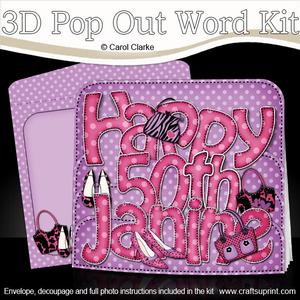 3D 50th Birthday Janine Bags & Shoes Pop Out Word Card