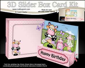 3D Milly Moo Cow's Flowers Slider Box Card Kit