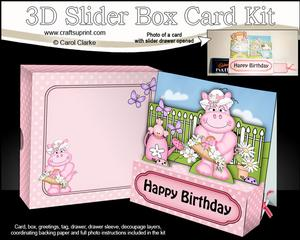 3D Hilda Hippo's Flowers Slider Box Card Kit