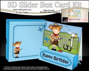 3D Boyz Cowboy Zeb Slider Box Card Kit