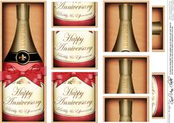 Dl Anniversary Champers in a Box with Top & Bottom Stacker