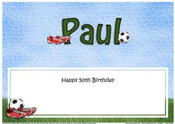 50th Birthday Paul Football Large Dl Matching Insert