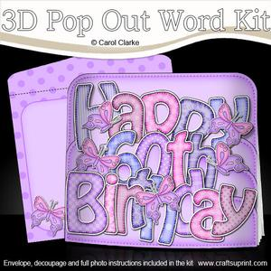 3D 60th Birthday Butterflies Pop Out Word Card