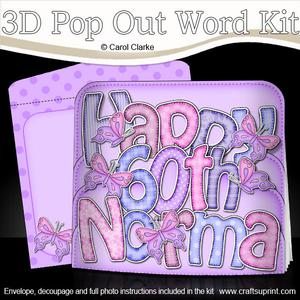3D 60th Birthday Norma Butterflies Pop Out Word Card