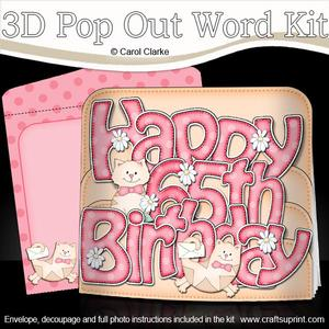 3D 65th Birthday Cats Pop Out Word Card