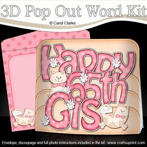 3D 65th Birthday Gis Cats Pop Out Word Card