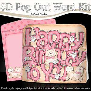 3D Birthday Cats Pop Out Word Card