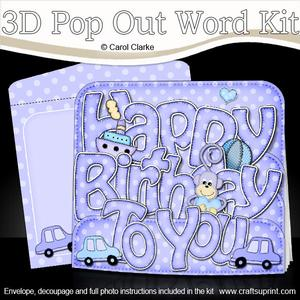 3D Birthday Cars Pop Out Word Card