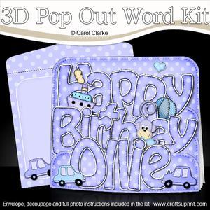 3D Birthday Ollie Cars Pop Out Word Card