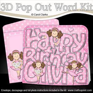 3D Birthday Girlz Betzi Ballerina Olivia Pop Out Word Card