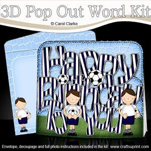 3D Boyz Bazil Birthday Football Pop Out Word Card