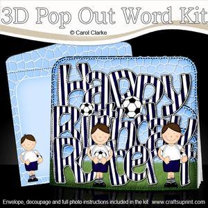 3D Boyz Bazil Birthday Robert Football Pop Out Word Card