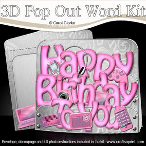 3D Girly Birthday Gadgets & Gizmos Pop Out Word Card Kit