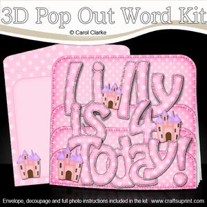 3D 4th Birthday Lilly Pop Out Word Card