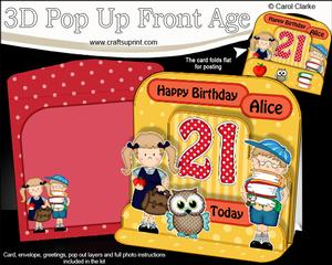 3D 21st Birthday Alice Schoolchildren & Owl Pop Up Age