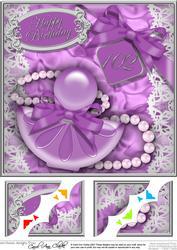 8 x 8 102nd Birthday Perfume Lace N Pearls Scalloped Corner