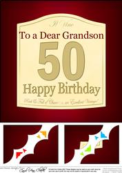 8x8 50th Birthday Grandson Wine Label Scalloped Corner