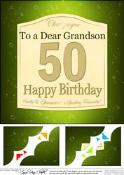 8x8 50th Birthday Grandson Champagne Label Scalloped Corner