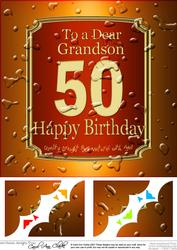 8x8 50th Birthday Grandson Beer Label Scalloped Corner
