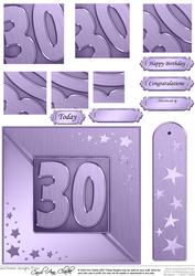 30th Metallic Age Quick Card with Twisted Pyramage