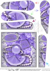 101st Birthday Perfume Lace & Pearls Fan Pyramage Topper