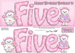 5th Birthday Bethany Large Dl Quick Card N 3D Decoupage