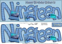 19th Birthday Ethan Large Dl Quick Card N 3D Decoupage