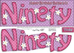 90th Birthday Barbara Large Dl Quick Card N 3D Decoupage
