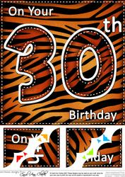 8 x 8 Fun Zebra Striped 30th Birthday Scalloped Topper