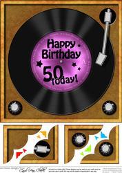 8 x 8 50th Birthday Record Scalloped Corner Topper
