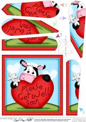 Milly Moo Cow Get Well Heart Fan Pyramage Topper