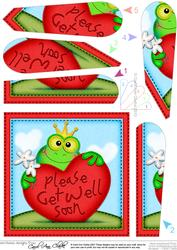 Freddy Frog Get Well Heart Fan Pyramage Topper