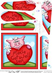 Zoe Piggy Get Well Heart Fan Pyramage Topper