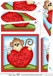 Chunky Monkey Get Well Heart Fan Pyramage Topper