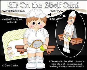 3D on the Shelf Card Kit - Little Tennis Boy Lewis