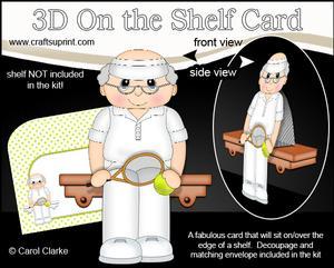 3D on the Shelf Card Kit - Little Tennis Old Man Eliot