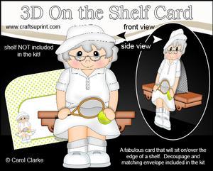 3D on the Shelf Card Kit - Little Tennis Old Lady Clara