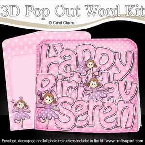 3D Birthday Seren Fairies Pop Out Word Card
