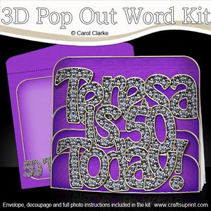 3D Birthday Teresa is 50 Pop Out Word Card